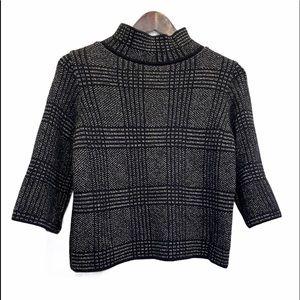 ZARA KNIT Mock Neck Plaid Sweater Size M GUC